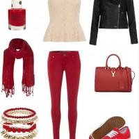 Casual Red Outfit, black leather jacket, embroidered top and red sneakers