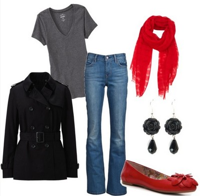 Casual Red Outfit, black peacoat and red flats