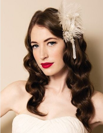 Center Parted Curly Wavy Hair for Vintage Wedding Hair