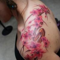 Cherry blossom tattoo on back design