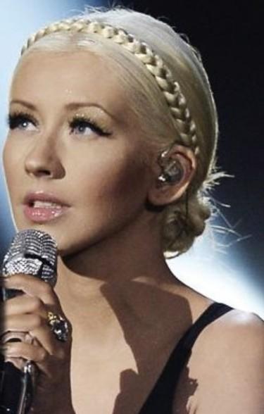 Christina Aguilera Hairstyles: Braided Bun