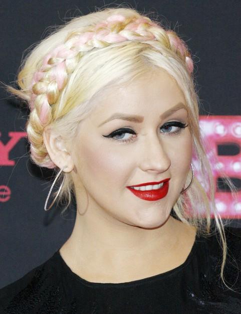 Christina Aguilera Hairstyles: Pretty Braided Bun