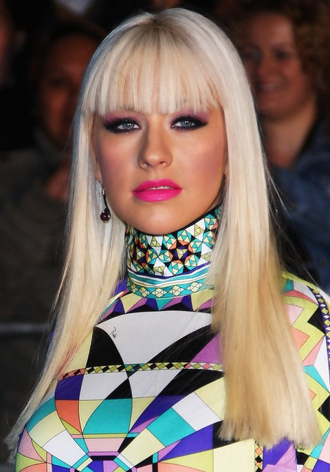 Christina Aguilera Hairstyles: Radiant Straight Haircut with Bangs