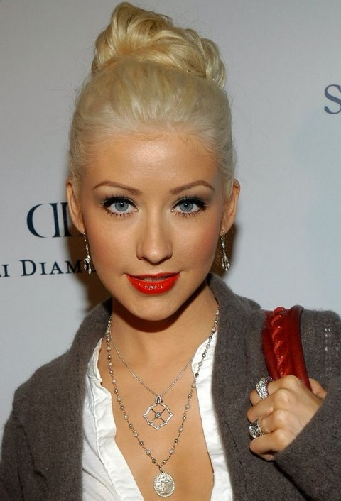 Christina Aguilera Hairstyles Sweet French Twist