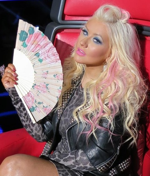 Christina Aguilera Hairstyles: Half-up Half-down Hairstyle