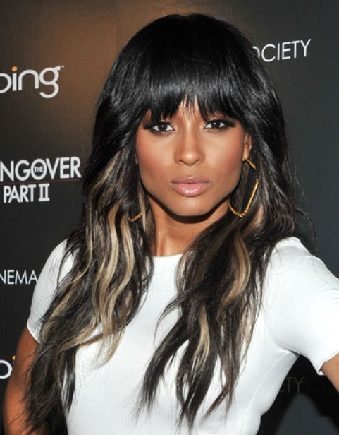 Ciara Long Hairstyle Highlighted Hair