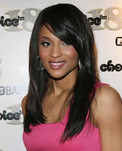 Ciara Long Hairstyle: Side Swept Part