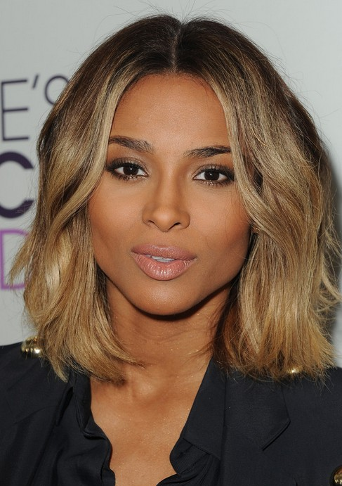 Ciara Medium Hairstyle: Curly Side Part - Pretty Designs
