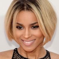 Ciara Short Hair style: 2014 Bob with Center Part