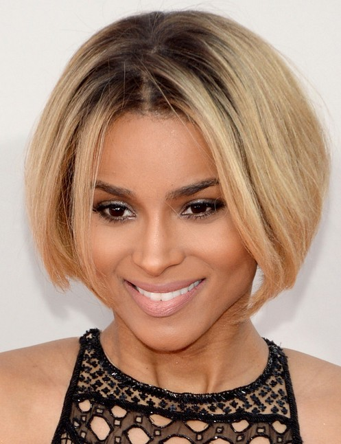 Ciara Short Hair style: 2014 Bob with Center Part