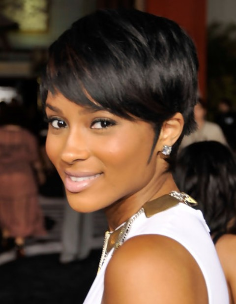 Ciara Short Hairstyle: Side-swept Part