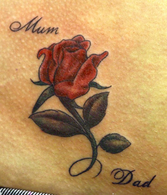 Coloured rose tattoo: Little tattoos