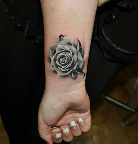 Cool Rose Tattoo on Wrist