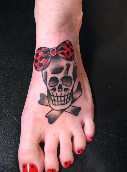 Cute Skull Tattoo on Foot