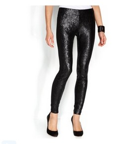 DKNYC Pants, Sequin-Panel Leggings, Black