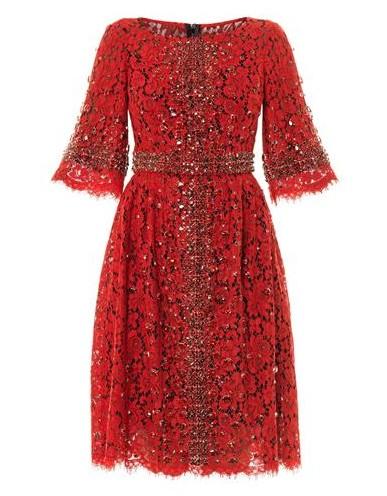 DOLCE & GABBANA Embellished-cross Lace Dress, Red