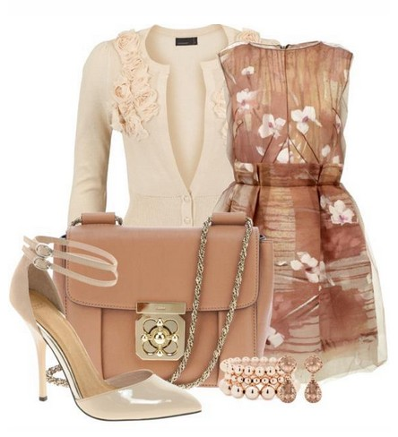Daily Outfit Look, floral print dress, beige cardigan and nude high heels