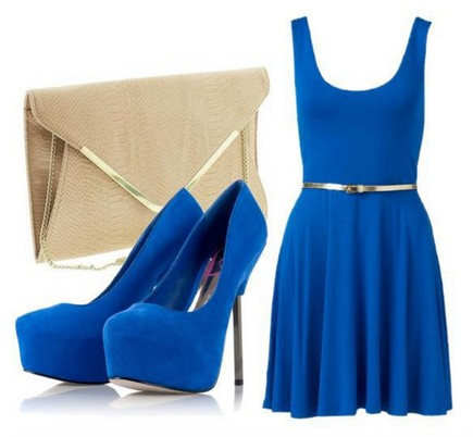 Daily Outfit Look,blue cocktail dress and pumps with pink hard case
