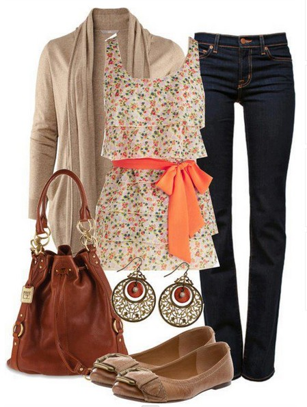 Daily Outfit Look,floral print top and brown flats