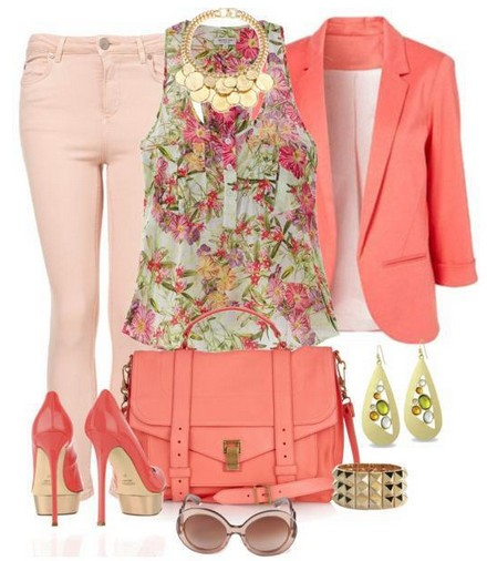 Daily Outfit Look,floral print top coral suit and pumps