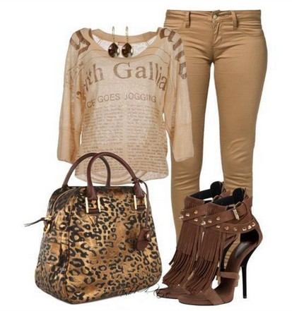 Daily Outfit Look,print top, tan skinnies and animal print bag