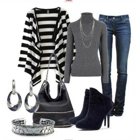 Daily Outfit Look,striped cardigan, grey turtle neck sweater and ankle boots