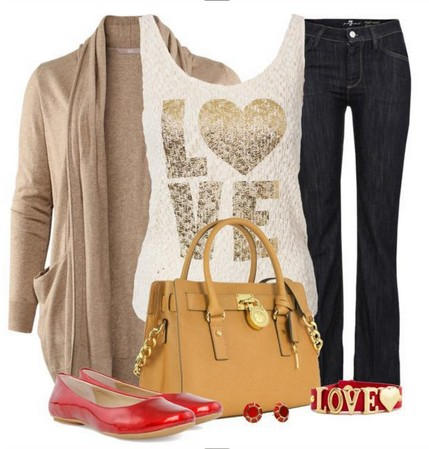 Daily Outfit Look,tan cardigan, jeans and red flats