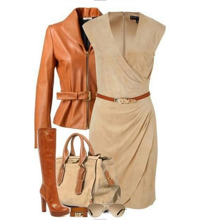 Daily Outfit Look, tan evening dress, brown leather jacket and knee-length boots
