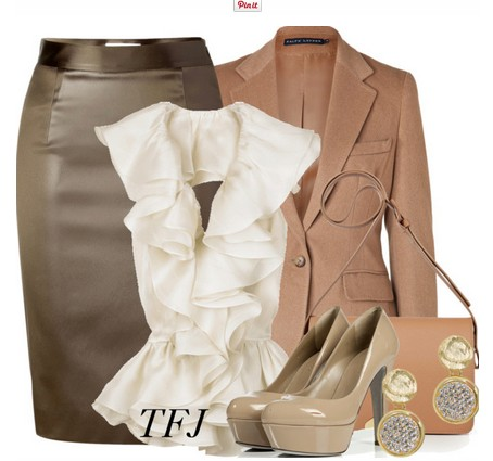 Daily Outfit Look, tan suit, grey pencil dress and tan pumps