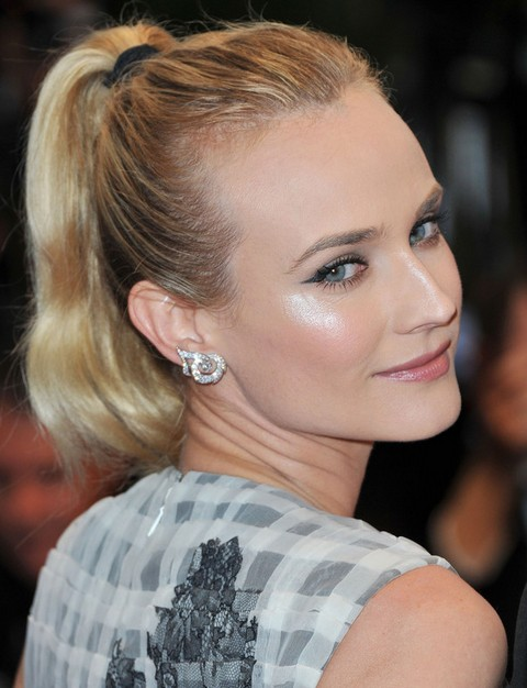 Diane Kruger Hairstyles: Cheerful Ponytail