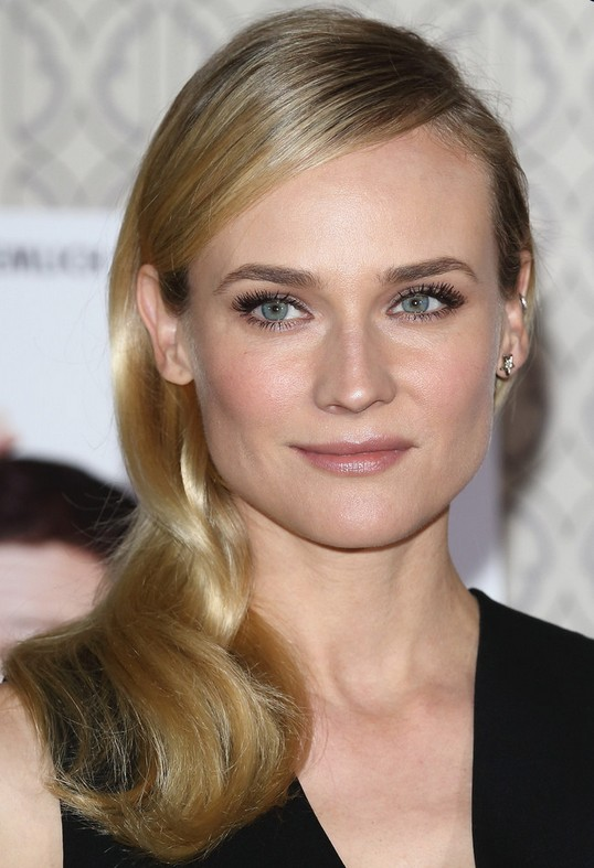Diane Kruger Hairstyles: Pretty Side-swept Hairstyle