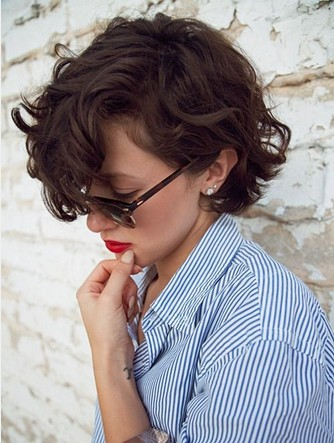 Deep Parted Curly Hairstyle with Long Side Swept Bangs for Brown Hair