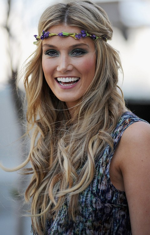 Delta Goodrem Hairstyles: Center-parted Long Curls with Headband