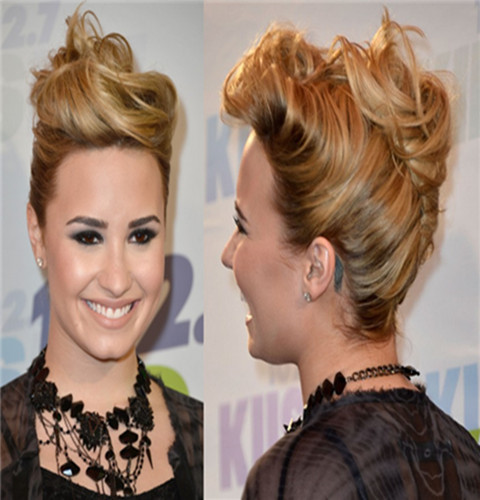 Demi Lovato Hairstyles: French Twist
