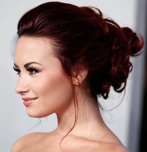 Demi Lovato Hairstyles: Romantic Updo