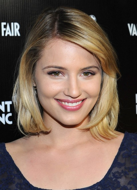 Dianna Agron Hairstyles: Side-parted Medium Haircut
