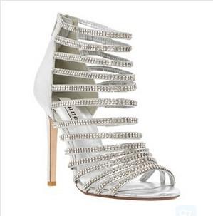 Dune Heartshine Ankle Heeled Sandals, Silver