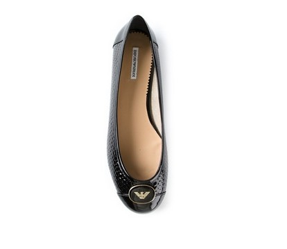 EMPORIO ARMANI round toe ballerina flat, black