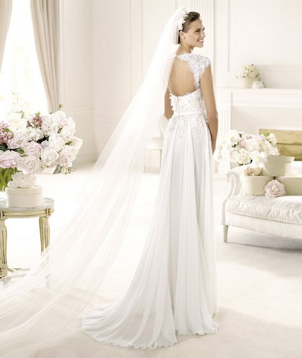 Elie Saab – Wedding Gowns 2014 long flowing lace tulle wedding dress with cap shoulders