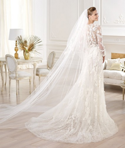 Elie Saab – Wedding Gowns 2014 long flowing long sleeve lace tulle wedding dress