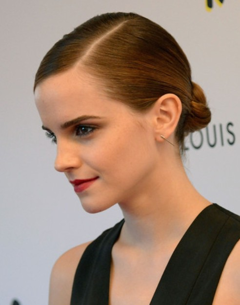 Emma Watson Long Hair style: 2014 Lovely Bun
