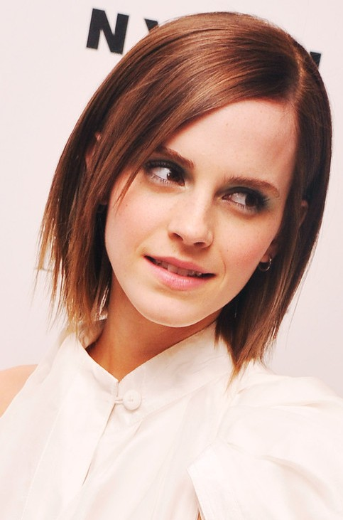 Emma Watson Medium Length Hairstyle: Layered Haircut