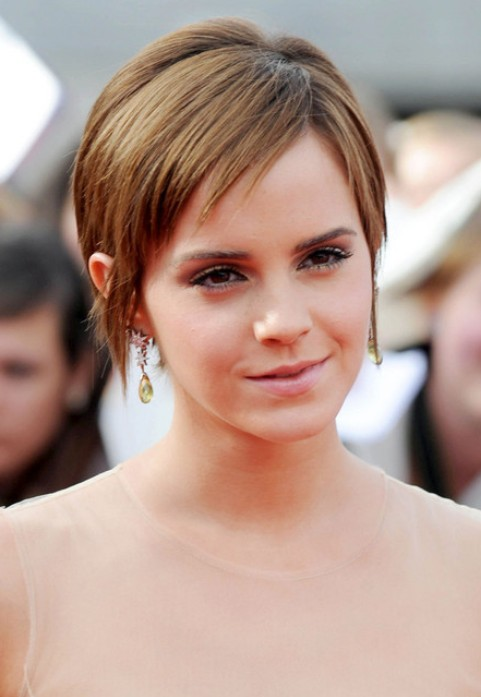 Emma Watson Short Hairstyle: Pixie with Side Part