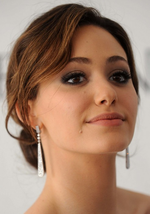 Emmy Rossum Long Hairstyle Classic Bun For Party Pretty