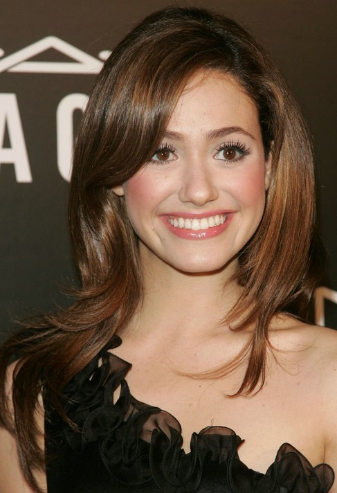 Emmy Rossum Long Hairstyle Sleek Brown Hair Pretty Designs