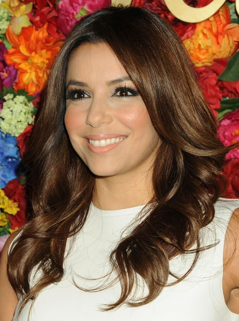 Eva Longoria Hairstyles: Center-parted Curls