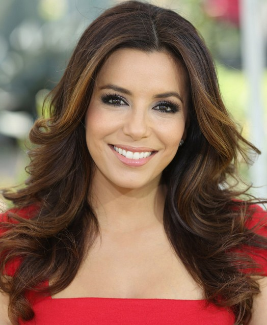 Eva Longoria Hairstyles: Center-parted Long Curls