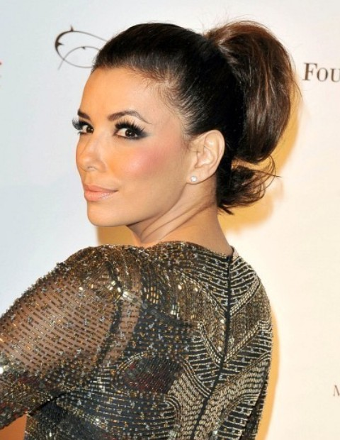 Eva Longoria Hairstyles: Cute Ponytail
