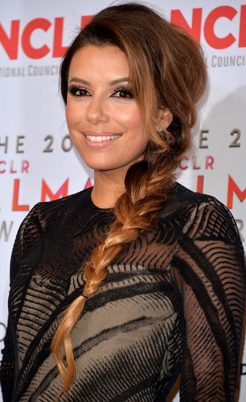 Eva Longoria Hairstyles: Long Braid