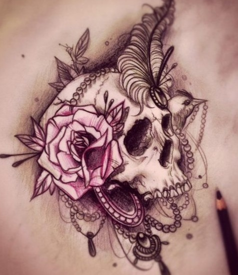 Flower Skull Tattoo Designs